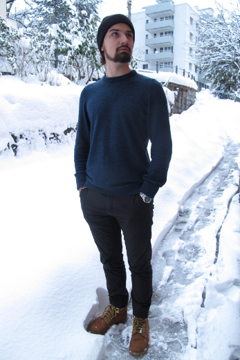 Pelago Merino Sweater Men Navy Blue